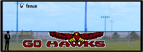 6' x 30' Go Hawks Letters with Flying Hawk