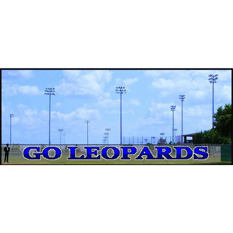 5' x 60' Two-Tone Go Leopards Letters with Outline