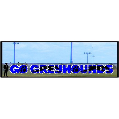 4' x 50' Go Greyhounds Letters with Silhouette